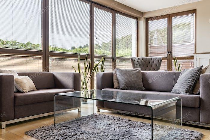 Grey interior with big windows and sofas