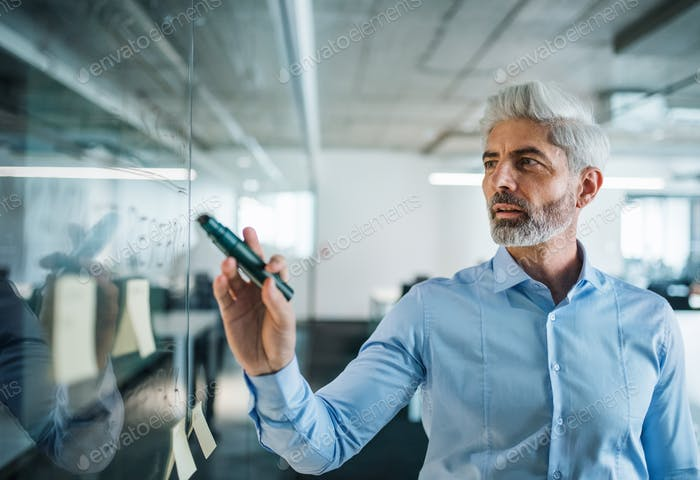 Portrait of mature businessman standing in an office, brainstorming