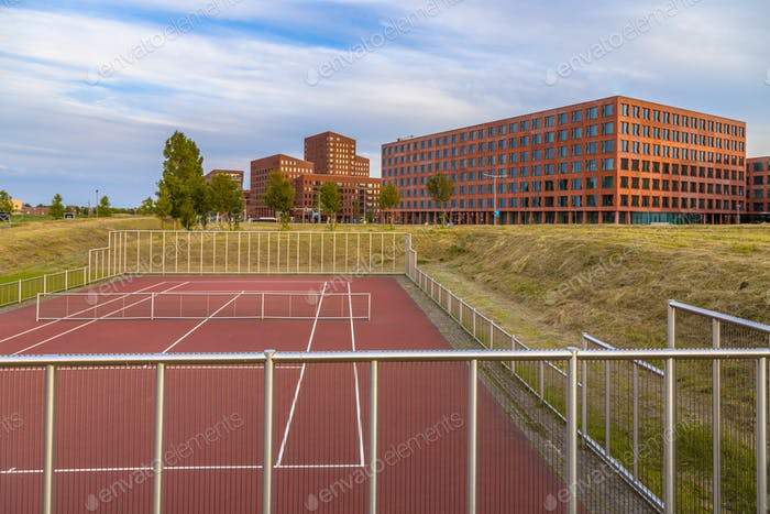 Tennis field near offices