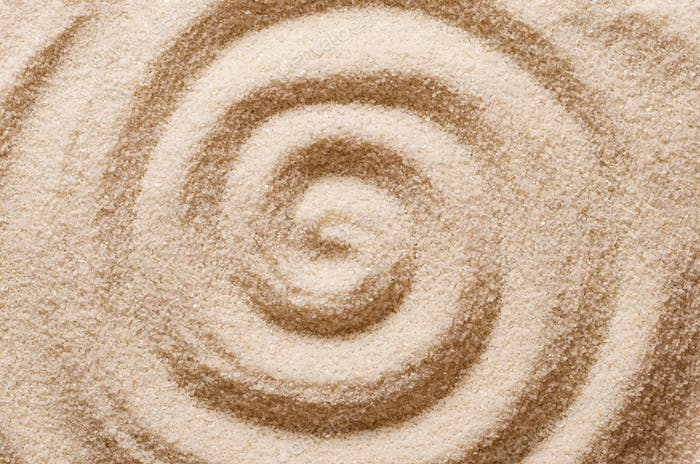 Spiral in the sand macro photo