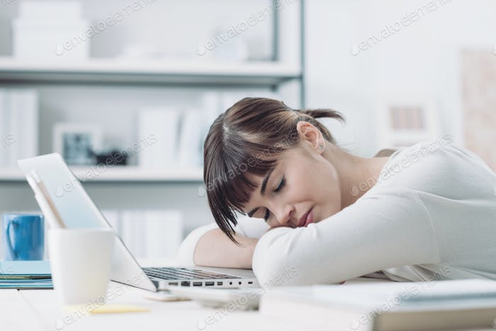 Woman sleeping on the job