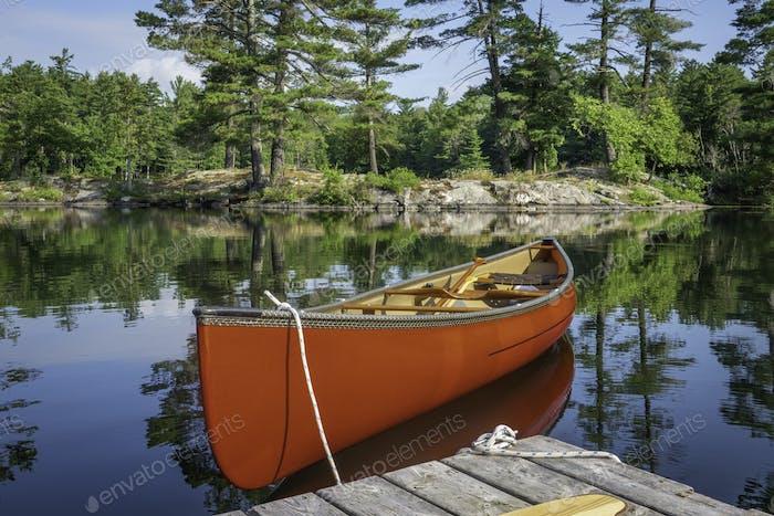 Canoe on Ontario lake