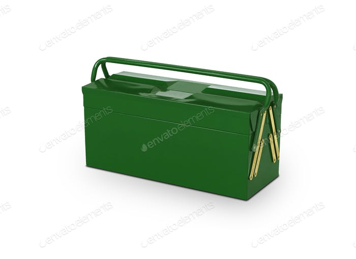 Green toolbox isolated on white