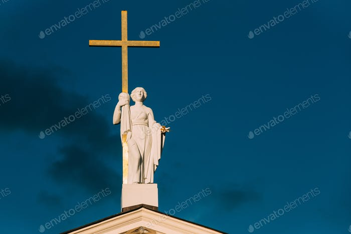Vilnius, Lithuania. Close View Of Statue Of St. Helena With Cros