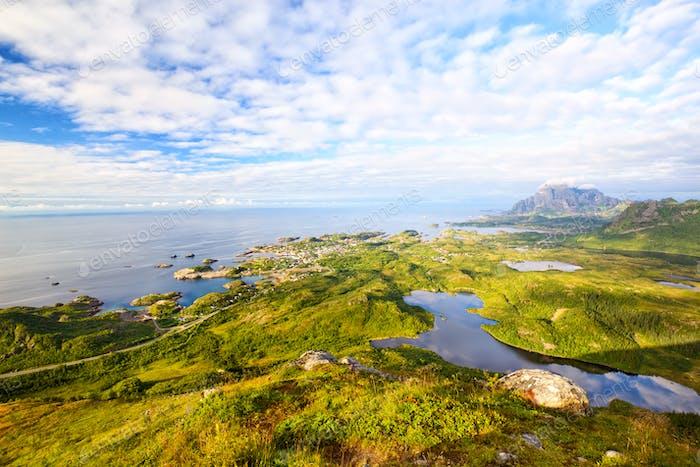 Luftaufnahme der Lofoten Inseln