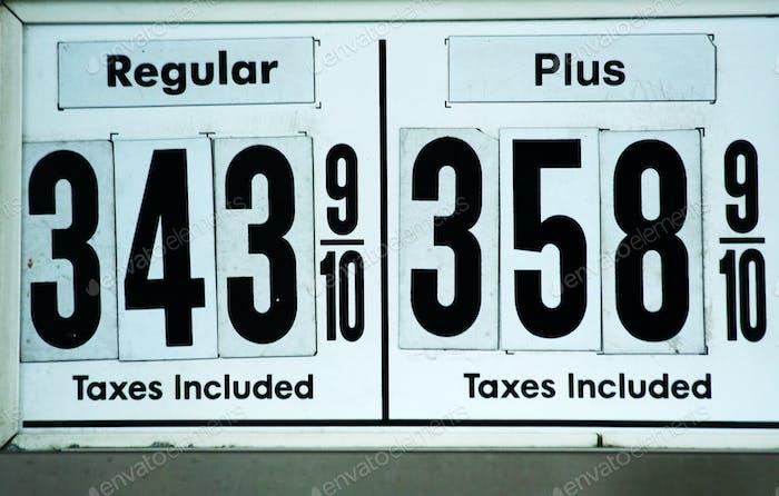 Hohe Gaspreise Zeichen