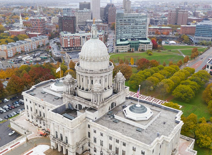 Aerial View Hartford Connecticut State Capital Urban Downtown Skyline