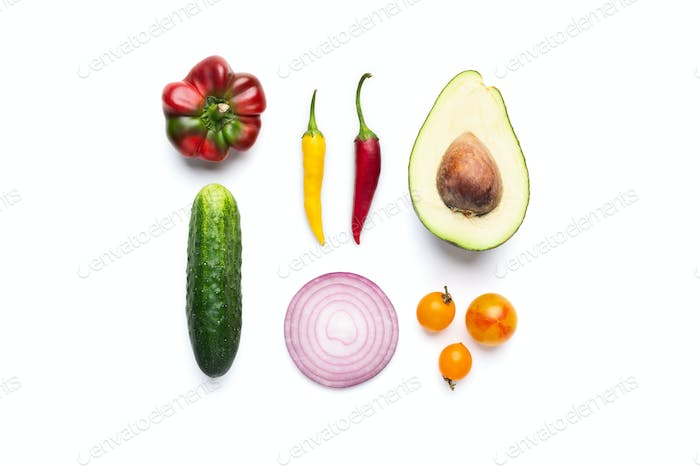 Fresg vegetable salad ingredients on white background