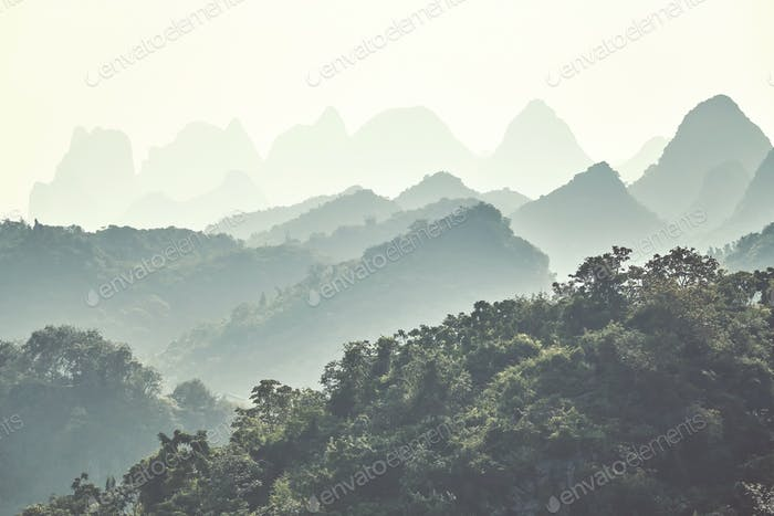 Karst mountainous landscape around Guilin, China.