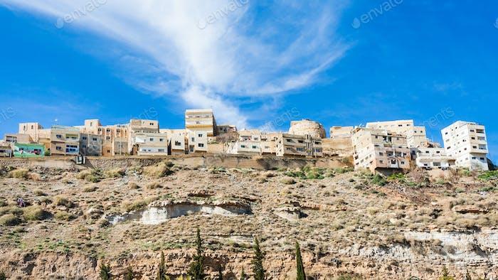 bottom view of Al-Karak town in Jordan