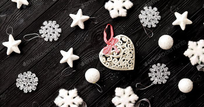 White decorations for Christmas tree