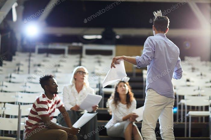 Groupmate making speech