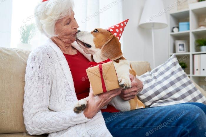 Senior Frau Küssen Hund am Geburtstag