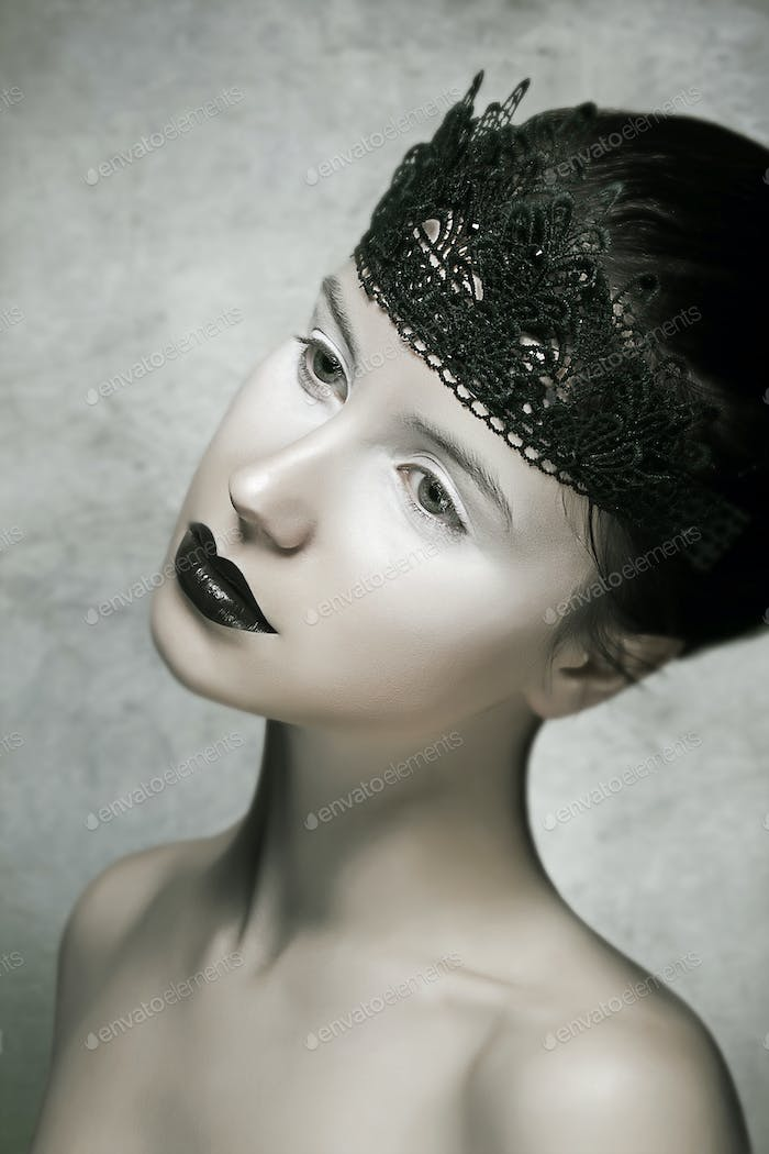 Beautiful Brunette Fashion Model with Black Lips Make-up