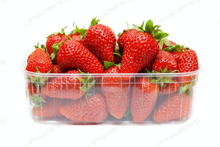 Strawberries in plastic packaging
