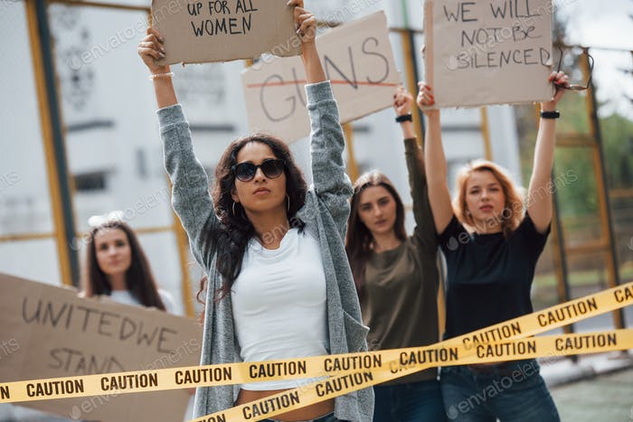 Democracy in european countries. Group of feminist women have protest for their rights outdoors