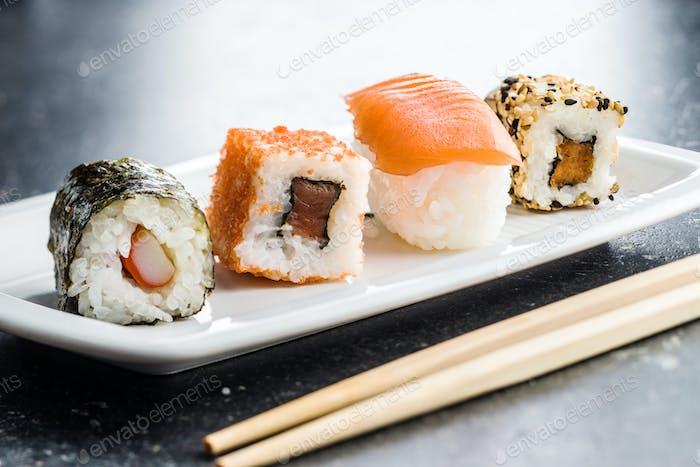 Japanese sushi rolls.