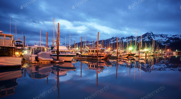 Seward Marina Alaska Waterfront Moored Boats Nautical Night