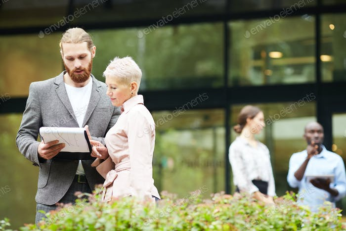 Successful Business People Discussing Work Outdoors