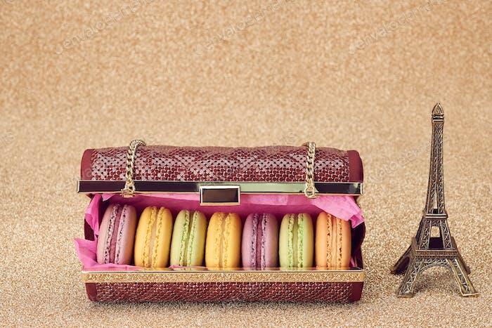 Macarons, Mode Handtasche, Gold.Eiffelturm.Vintage