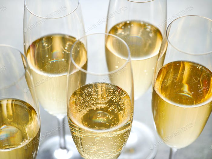 closeup of champagne glasses