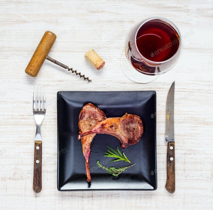 Lamb Chops with Glass of Red Wine