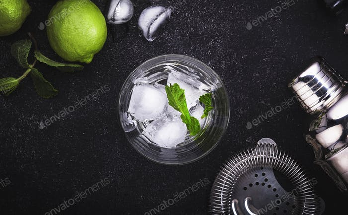 Bar tools. Ingredients for mojito cocktail with lime, mint leaves, ice