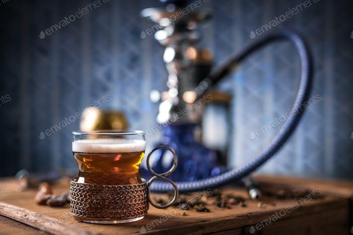 Black tea in glass cup