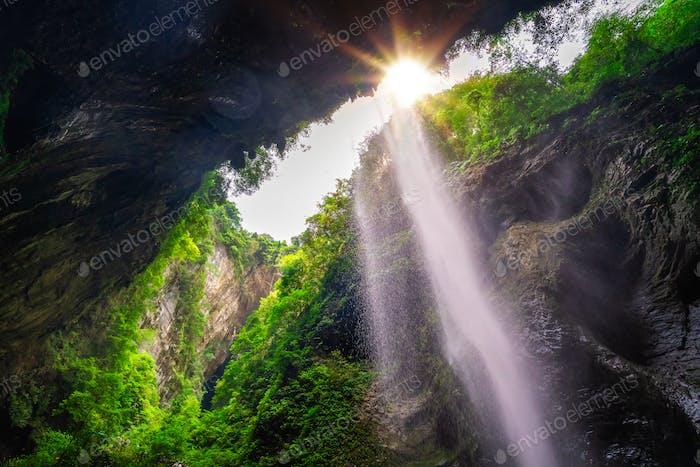 Smal waterfall in Wulong National Park