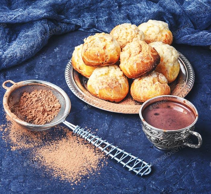 profiteroles dessert with cream