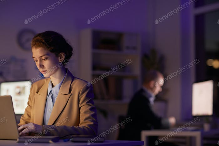 Working On Computers In Evening