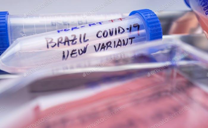 Mehrere Covid-19-Durchstechflaschen der neuen brasilianischen Variante in einem Labor