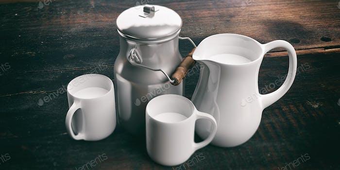 3D Rendering Dose, Krug und Tassen mit Milch