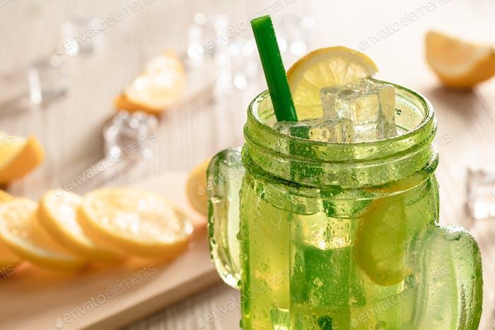 Fresh lemonade in jar ready to drink