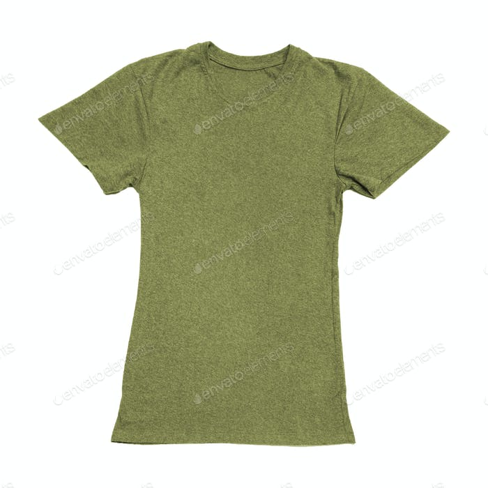 Olive green color T-shirt on woman body