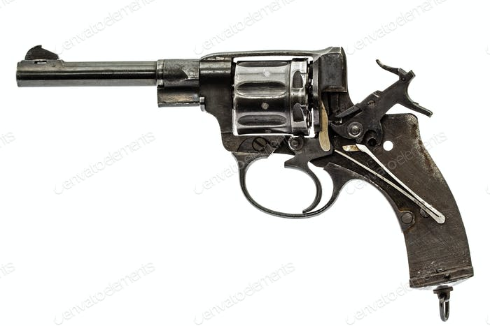 Disassembled revolver, pistol mechanism with the hammer cocked,