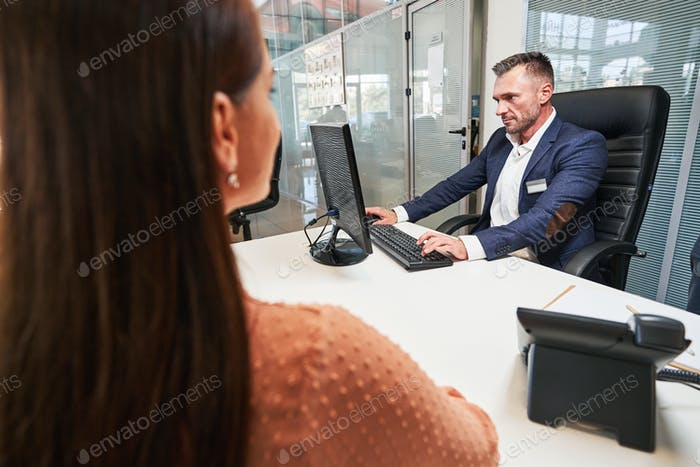 Woman in the office of the customer service specialist