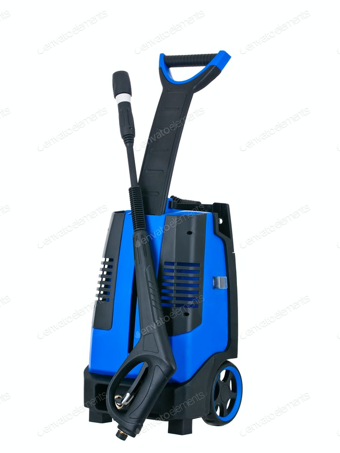 Blue pressure portable washer front view on  white background