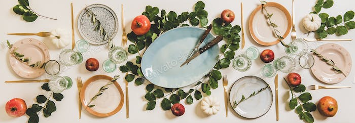 Thanksgiving holiday celebration dinner table setting, top view