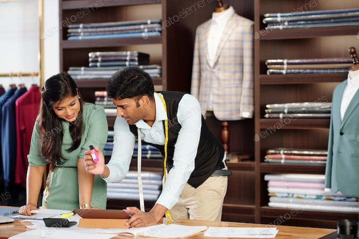 Team of Indian tailors at work