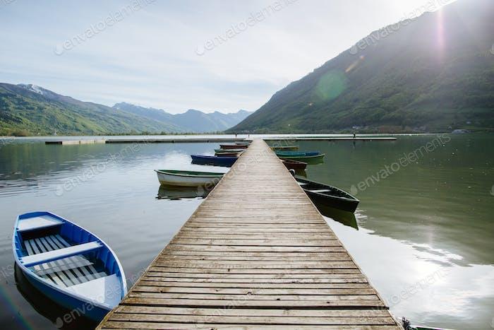 long lake pier in Montenegro