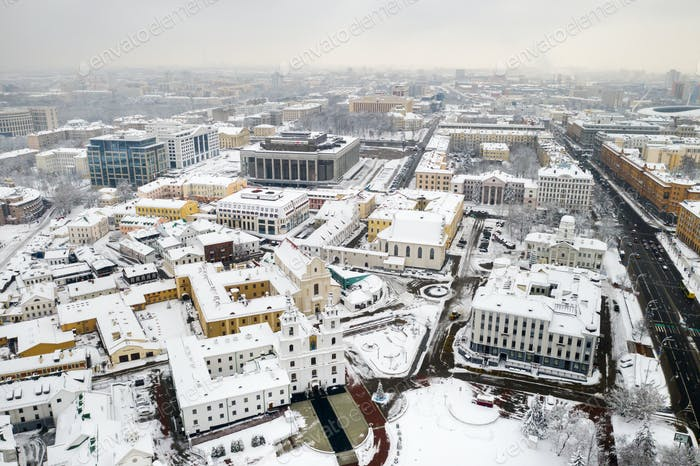 Snow-covered city center of Minsk from a height. The upper city. Belarus