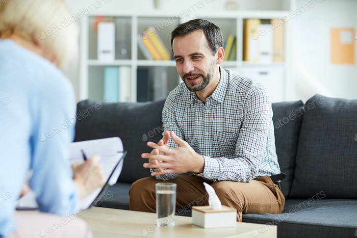 Man visiting counselor