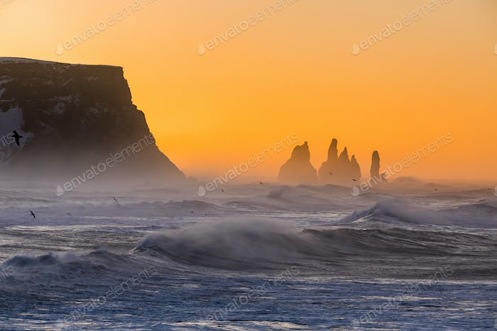 Sunrise at Cape Dyrholaey, the most southern point of Iceland