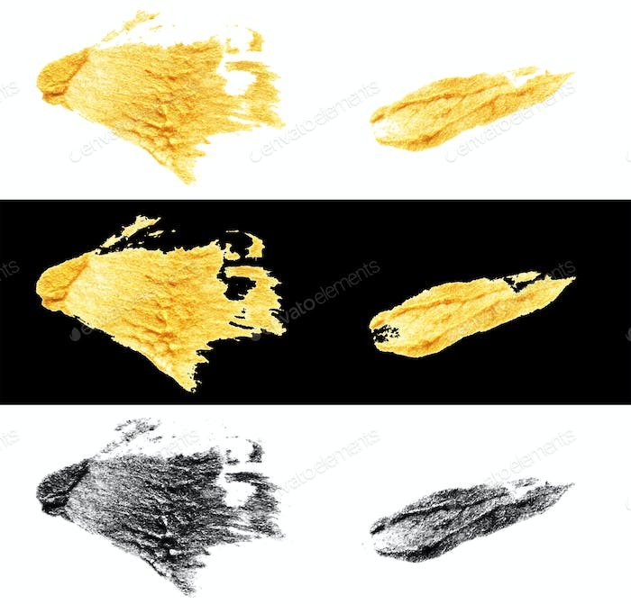hand drawn gold and black colors paint smear stain stroke