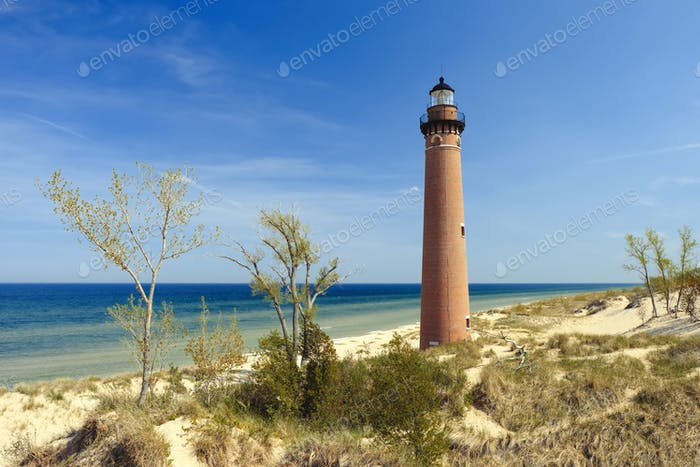 Little Sable Point Lighthouse in dunes, built in 1867