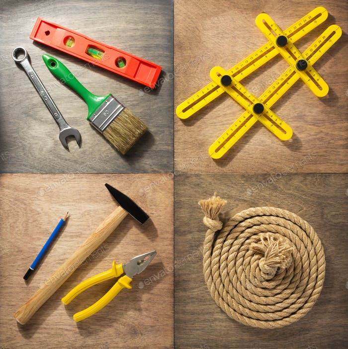 tools and instruments at wooden background