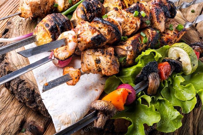 Meat skewers or shish kebab