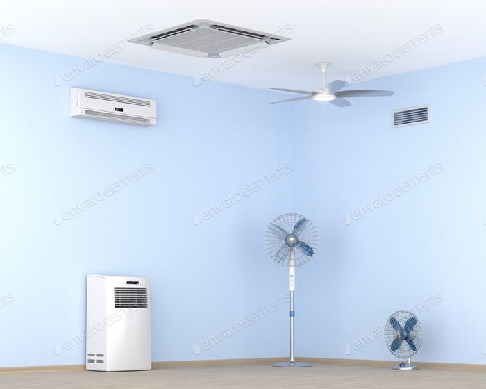 Different types of air conditioners and electric fans in the room