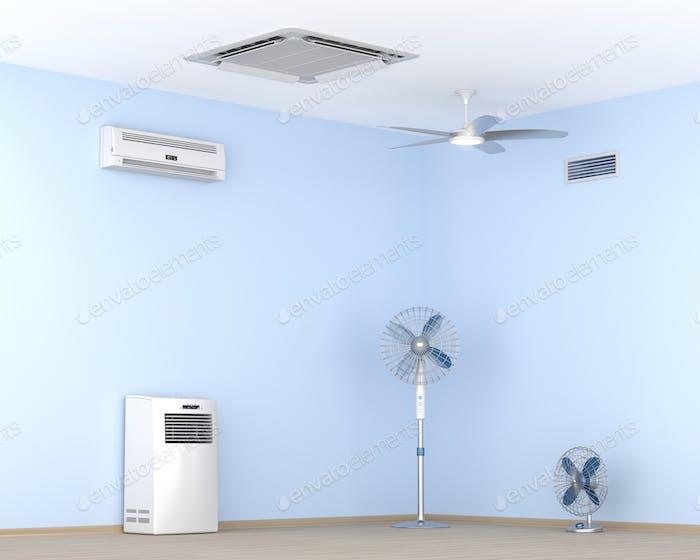 Verschiedene Arten von Klimaanlagen und Elektroventilatoren im Raum
